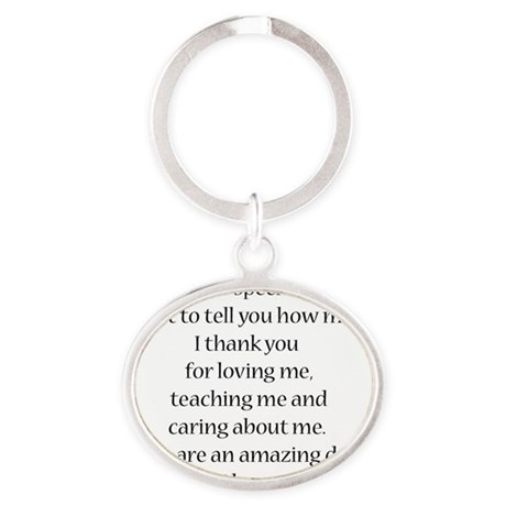Inside of father day card white Oval Keychain