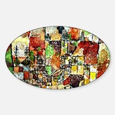 Paul Klee: Two Country Houses Sticker (Oval)