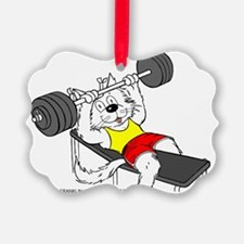 Weight Lifter Cat in Color Ornament