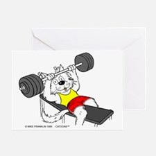 Weight Lifter Cat in Color Greeting Card