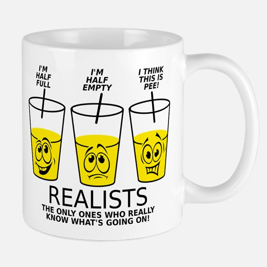 Half Full Half Empty Pee Realist Glass Mugs