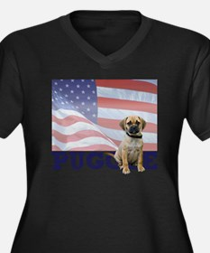 FIN-puggle-p Women's Plus Size Dark V-Neck T-Shirt