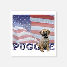 "FIN-puggle-patriotic2-CROP Square Sticker 3"" x 3"""