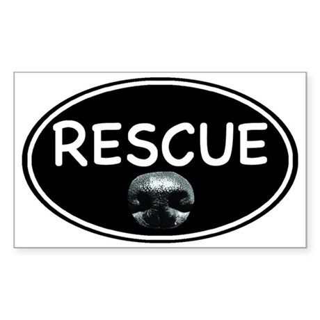 Rescue nose oval-black Sticker (Rectangle)