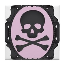 Skull and Crossbones Cameo Tile Coaster