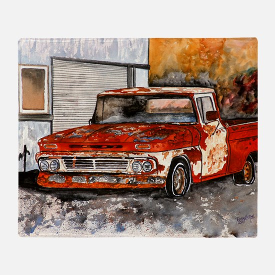 old pickup truck antique automobile Throw Blanket