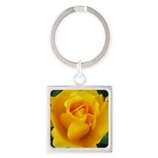 Yellow Rose Full Bloom A Square Keychain