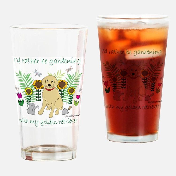 3-GoldenRetriever Drinking Glass