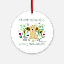 3-GoldenRetriever Round Ornament