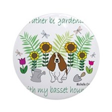 BassetHound Round Ornament