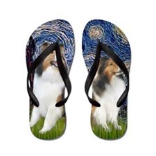 Starry Night - 2 Shelties (E&L) - squar Flip Flops
