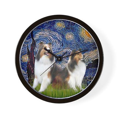 Starry Night - 2 Shelties (E&L) - squar Wall Clock