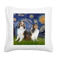 MP-Starry Night - 2 Shelties  Square Canvas Pillow