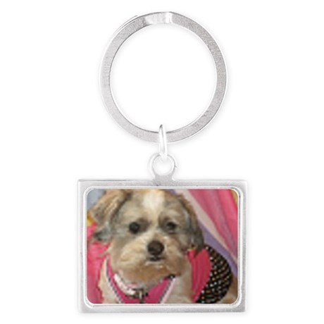 Lhaso Apso in dress up ours 006 Landscape Keychain