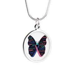 Butterfly Thyroid Cancer Silver Round Necklace