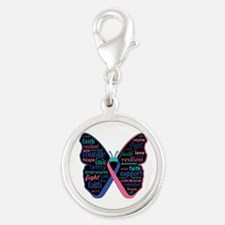 Butterfly Thyroid Cancer Silver Round Charm