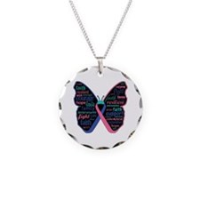 Butterfly Thyroid Cancer Necklace Circle Charm