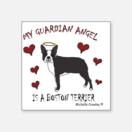 "BostonTerrierBlk Square Sticker 3"" x 3"""