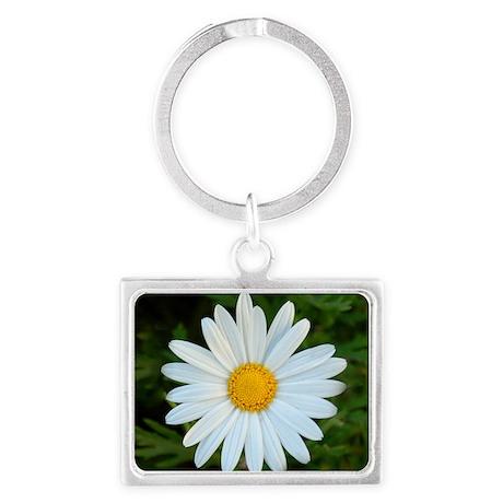 White Daisy Landscape Keychain