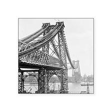 "Williamsburg Bridge Constru Square Sticker 3"" x 3"""