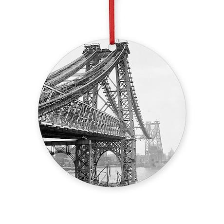 Williamsburg Bridge Construction Round Ornament