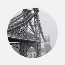 Williamsburg Bridge Construction Round Ornament