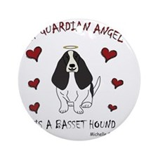 BassetHoundBlk Round Ornament