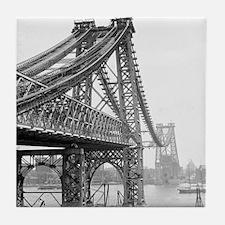 Williamsburg Bridge Construction Tile Coaster