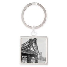 Williamsburg Bridge Construction Square Keychain