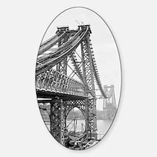 Williamsburg Bridge Construction Sticker (Oval)