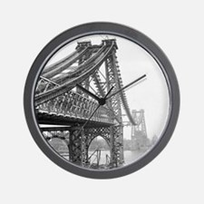 Williamsburg Bridge Construction Wall Clock