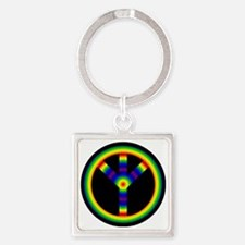 Turn The Peace UP Rainbow Square Keychain