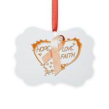 Hope Love Faith Heart (Orange) Ornament