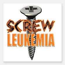 """Screw Leukemia Square Car Magnet 3"""" x 3"""""""