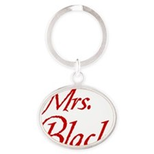 mrs-black-no-paw2 Oval Keychain