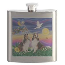 Twilight - 2 Shelties - square Flask