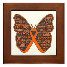 Butterfly Skin Cancer Orange Framed Tile