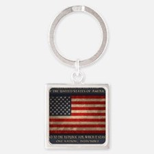 flag-pledge-BUT Square Keychain