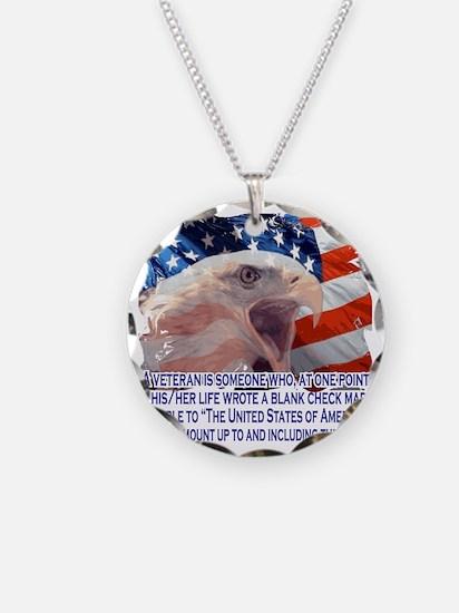 Veteran Blank Check Necklace Circle Charm