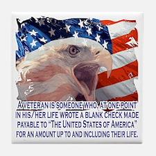 Veteran Blank Check Tile Coaster