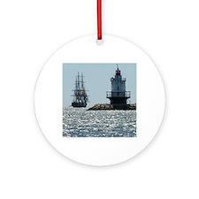 Spring Point Light  Ship1 Round Ornament