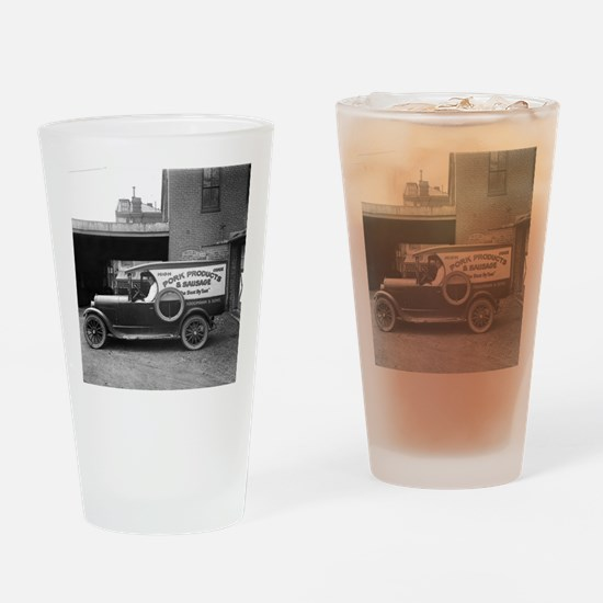Meat Market Delivery Truck Drinking Glass