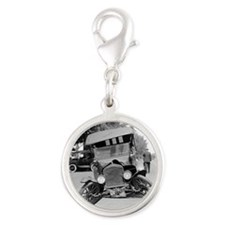 Crashed Ford Model T Silver Round Charm