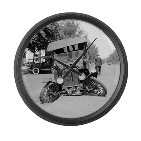 Crashed Ford Model T Large Wall Clock