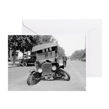 Crashed Ford Model T Greeting Card