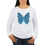 Butterfly Prostate Cancer Women's Long Sleeve T-Sh