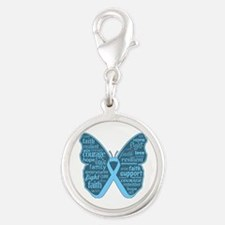 Butterfly Prostate Cancer Silver Round Charm