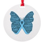 Butterfly Prostate Cancer Round Ornament