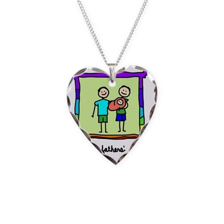 happy fathers day Necklace Heart Charm