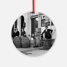 Bootleg Liquor Raid Round Ornament